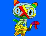 Disegno Mummia gatto scaraboechio pitturato su norberto b.