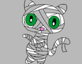 Disegno Mummia gatto scaraboechio pitturato su floriana