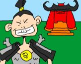 Disegno Samurai pitturato su virginia