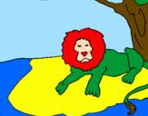 Disegno Il re leone pitturato su cane barbone