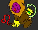 Disegno Leone pitturato su leo