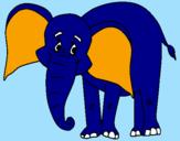 Disegno Elefante felice  pitturato su eva