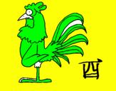 Disegno Gallo  pitturato su luca