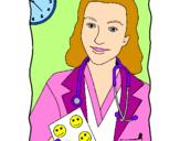 Disegno Dottoressa sorridente  pitturato su cleo-h2o
