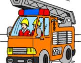 Disegno Camion dei Pompieri  pitturato su nicolas