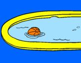 Disegno Palla in piscina pitturato su leonard riverso