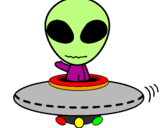 Disegno Alieno pitturato su ufo cristina