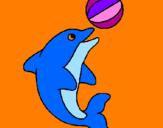 Disegno Delfino con una palla  pitturato su gio