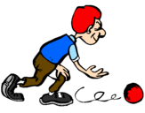 Disegno Giocatore di bowling  pitturato su bocce