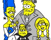 Disegno Famiglia di mostri  pitturato su simpson horror