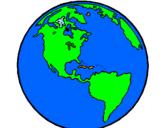 Disegno Pianeta terra  pitturato su terra