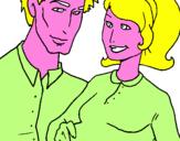 Disegno Padre e madre pitturato su luca