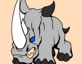 Disegno Rinoceronte II pitturato su Sri