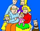 Disegno Famiglia pitturato su margherita