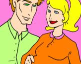 Disegno Padre e madre pitturato su genitori