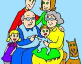 Disegno Famiglia pitturato su carlotta