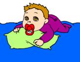 Disegno Bambino che gioca  pitturato su Rebecca