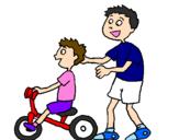 Disegno Triciclo pitturato su PAPAeFIGLIA