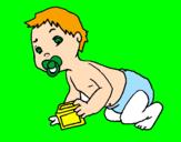 Disegno Bebè  pitturato su LORENA