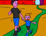 Disegno Pattinare pitturato su papà e figlio interista