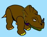 Disegno Triceratops II pitturato su michele
