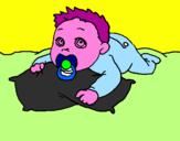 Disegno Bambino che gioca  pitturato su nicole