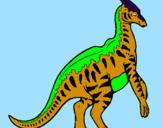 Disegno Parasaurolophus a strisce  pitturato su Dinodì