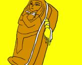 Disegno Mummia pitturato su camilla
