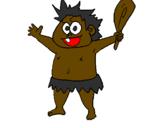 Disegno Bambino homo sapiens  pitturato su giulio