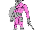 Disegno Gladiatore  pitturato su leonardo