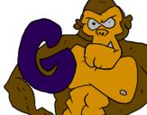 Disegno Gorilla  pitturato su Bimba <3