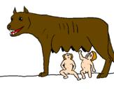 Disegno Romolo e Remo con la lupa pitturato su lupa