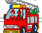 Disegno Camion dei Pompieri  pitturato su aurora