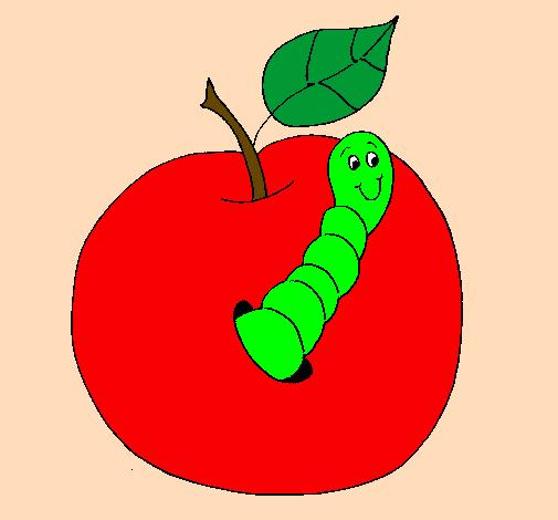 Disegno mela con il vermiciattolo colorato da utente non for Immagini da colorare bruco