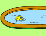 Disegno Palla in piscina pitturato su chiara