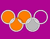 Disegno Anelli dei giochi olimpici  pitturato su elisa