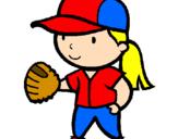 Disegno Giocatrice di baseball  pitturato su allegra