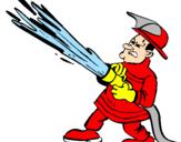 Disegno Pompiere con idrante  pitturato su enrico