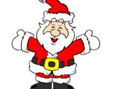 Disegno Babbo Natale felice pitturato su martina