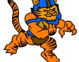 Disegno Giocatore tigre  pitturato su lollo