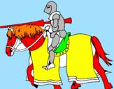 Disegno Cavallerizzo in piena lotta  pitturato su francesco