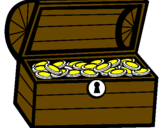 Disegno Tesoro pitturato su BAU DETESOUROS