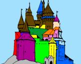 Disegno Castello medievale  pitturato su nunzio