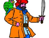 Disegno Pirata con il pappagallo  pitturato su francesco