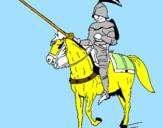 Disegno Cavallerizzo a cavallo  pitturato su francesco