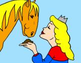 Disegno Principessa e cavallo  pitturato su bb