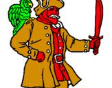 Disegno Pirata con il pappagallo  pitturato su ,JNHG