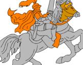 Disegno Cavaliere a cavallo pitturato su TOMMASO