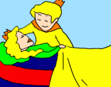 Disegno La principessa addormentata e il principe  pitturato su irene
