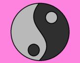 Disegno Yin e yang pitturato su giulia